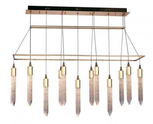LED ceiling pendant, adjustable, IP20, 13 Light, Shard, mains voltage, gold