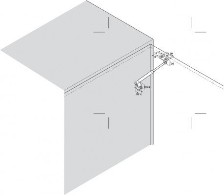 Firmatop lid stay, with spring, for wooden flaps, opening angle 75ø,  130 mm, galvanized