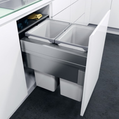 Pull out waste bin, CW=400 mm, D=515 mm, Vauth Sagel VS ENVI Space XX Pro, silver