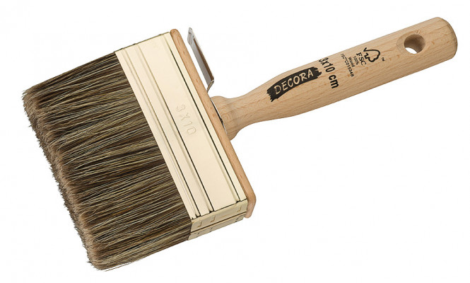 Flat brush, translucent plane, 30x100 mm, raw wood handle