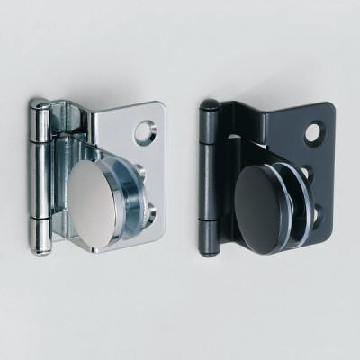 Glass door hinge, half overlay, black