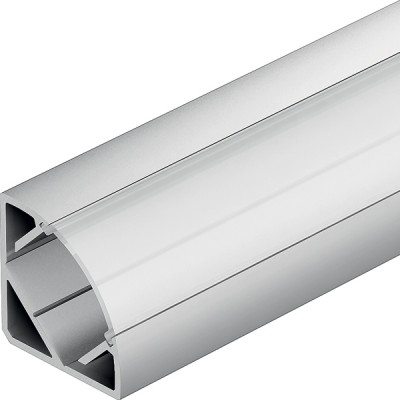 Aluminium profiles, LED flexible strip lights, L=2500 mm, corner mounting, milky