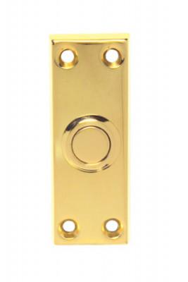 Bell push (rectangular), polished brass