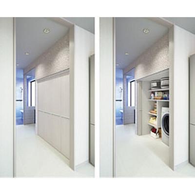 Folding pocket door system, inset