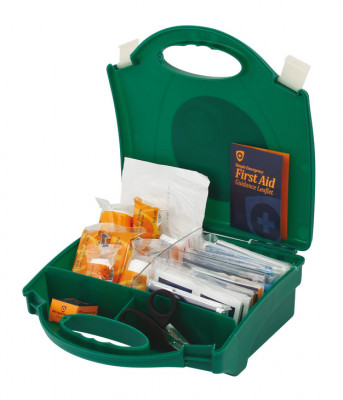 First aid kit, 10 person, bs8599 compliant,with small green carry case