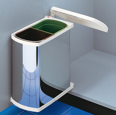 Waste bin, 2x8 litres, Hailo Duo, installation behind hinged door, 450 mm, stainless steel