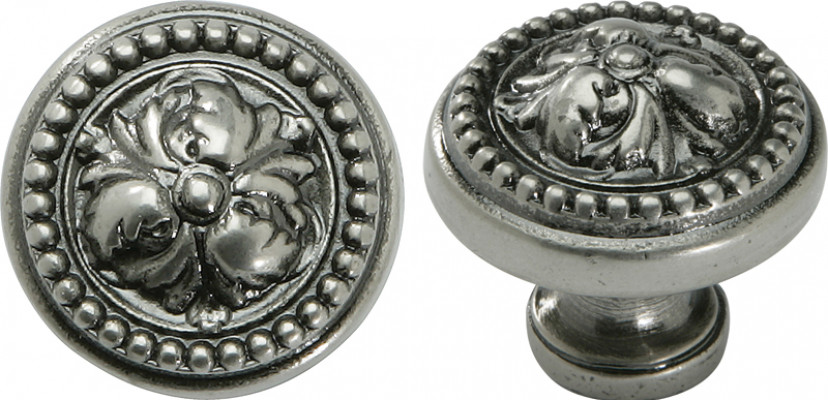 Knob, zinc alloy, › 32-48 mm, acanthus, nickel pewter, › 32 mm