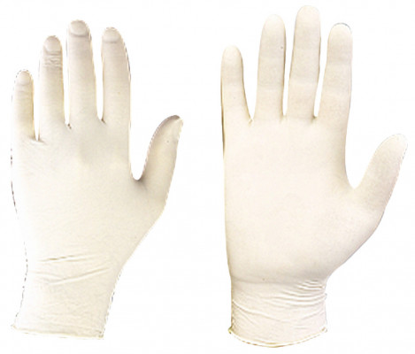 Gloves, disposable, vinyl or latex, large size, material: pre powdered latex