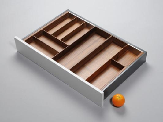 Cutlery divider for ANTARO/LEGRABOX/TA'OR C=700-900 mm, NL=550 mm, walnut