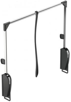 Pull down wardrobe rail, wall mounting, rail 620-950 mm, black housing, chrome