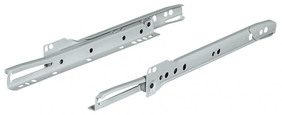 Roller drawer runners, single extension, capacity 25 kg, 400 mm, black RAL9011