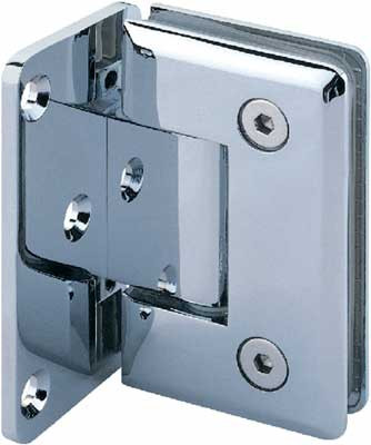 Shower door hinge, wall to glass 90ø hinge with plate, glass doors 8-12 mm thick, chrome