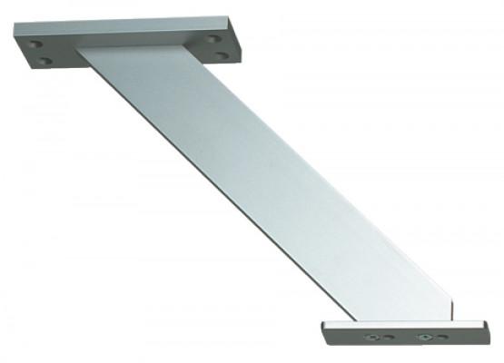 Breakfast bar support, inclined, for worktop mounting, matt aluminum