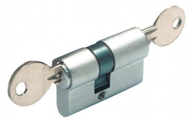 Cylinder, with key both sides, Metalglas, cylinder lenght=48 mm, satin chrome