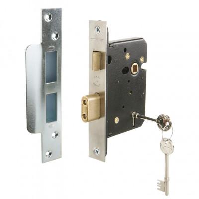 Sashlock, 5 lever, mortice, fiscal, case 67 mm, backset 44 mm, stainless steel