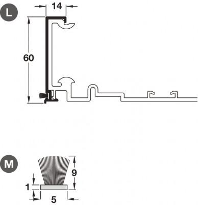 "Cover profile, for flush sliding wardrobe doors, h""fele ps40, top hung system, 3050 mm"