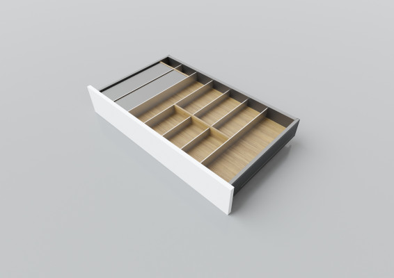 Cutlery divider for LEGRABOX/TA'OR C=750-900 mm, NL=450 mm, oak