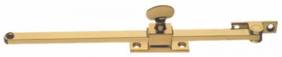 Casement stay, sliding, 254/305 mm, brass, for open out windows only, 305 mm, polished