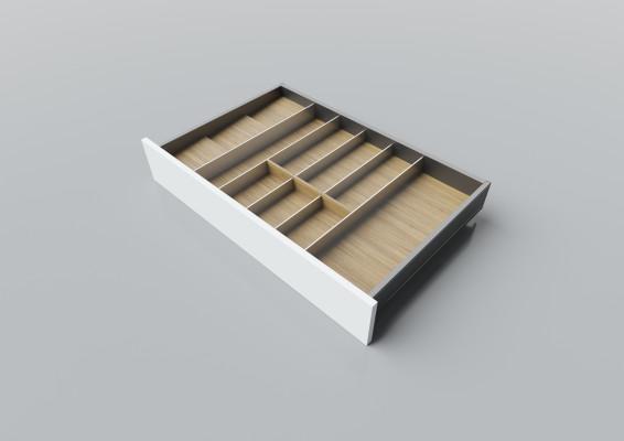 Cutlery divider for LEGRABOX/TA'OR C=700-900 mm, NL=500 mm, oak