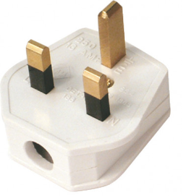 Mains plug, 3 pin, with 3 amp fuse, white plastic  with steel pins