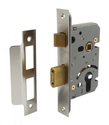 Sashlock case, mortice cylinder, Fiscal, backset 44 mm, case 64 mm, satin stainless steel