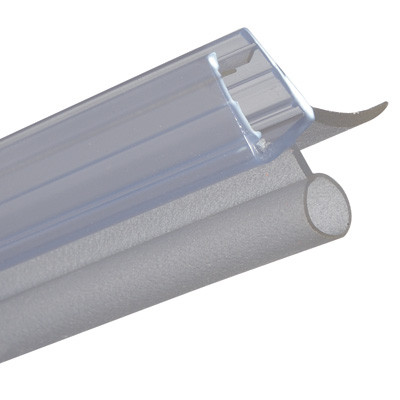 Shower seal, bottom H-profile with bulb seal, L=2010 mm, glass 6-8 mm thick, transparent