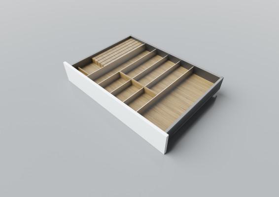 Cutlery divider for LEGRABOX/TA'OR C=700-900 mm, NL=550 mm, oak
