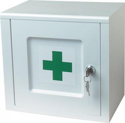 Lockable medicine cabinet, white with green cross logo, ninka, width 259 mm