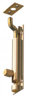 Barrel bolt, straight or necked, width 25 mm, brass, necked, 100x25 mm, satin nickel