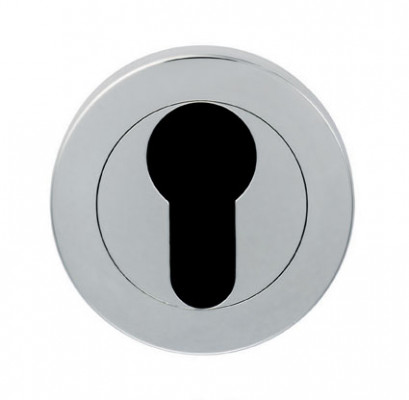 Euro-profile key hole cover in satin stainless steel