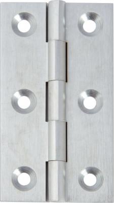 Broad style hinge 64x35 mm, brass, satin chrome