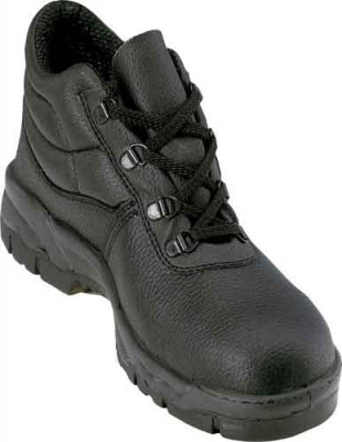 Safety boots, d-ring, black leather upper, click chukka, size 6