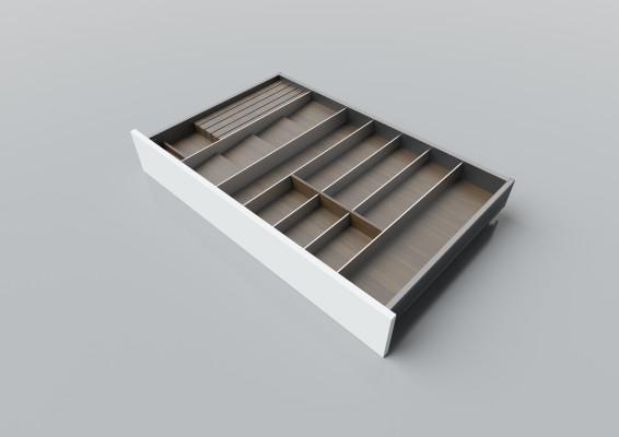 Cutlery divider for LEGRABOX/TA'OR C=850-1050 mm, NL=550 mm, walnut