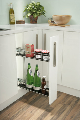 Pull out storage unit, min. cabinet width 150mm, soft close, chrome linear wire basket