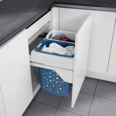 Laundry carrier, for door front fixing, for cabinet width 450 mm, capacity 2x33 L, Hailo