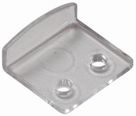 Two-hole mirror clip plastic, 21 mm, clear