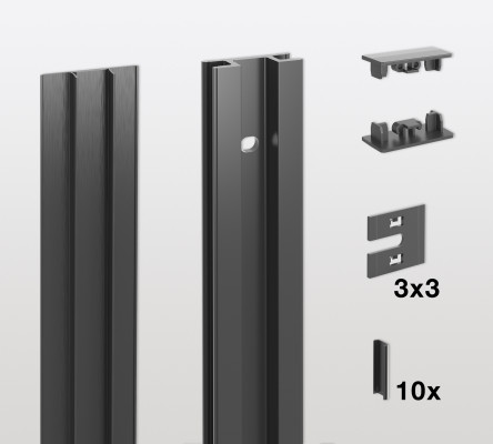 Wall profile kit, standard for PECASA, H=2200mm PEKA, black aluminium