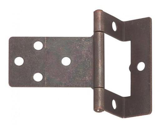 Flush hinge, cranked, non mortice, steel, non mortice, medium duty applications, zinc