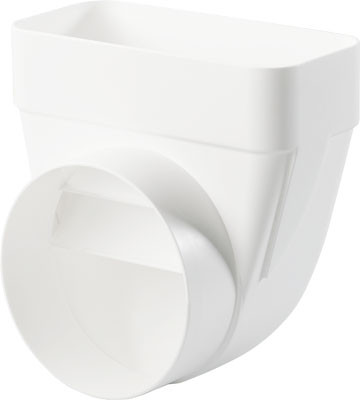 Deflector, white plastic, system 125/150, system 125, heightxwidth 82x174 mm, ø 125 mm
