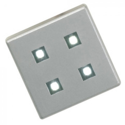 LED plinth set, 12V/2W, 4 x square (0.5W) with driver, cool white, brushed chrome