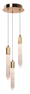 LED ceiling pendant, adjustable, IP20, 3 Light, Shard, mains voltage, gold