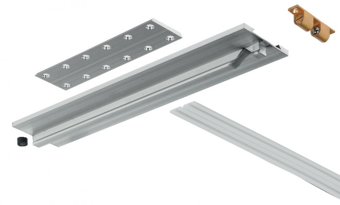 Drop leaf table fitting, tkb, for extending tables, silver anodised aluminum