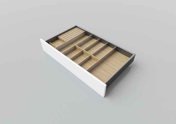 Cutlery divider for LEGRABOX/TA'OR C=700-900 mm, NL=450 mm, oak