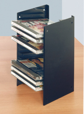 CD rack, for screw mounting between 2 side walls, stackable, cut to fit, black