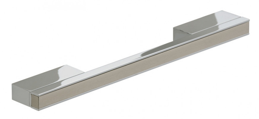 Bar handle, aluminium, centres 256 mm, polished chrome body with stainless steel inserts