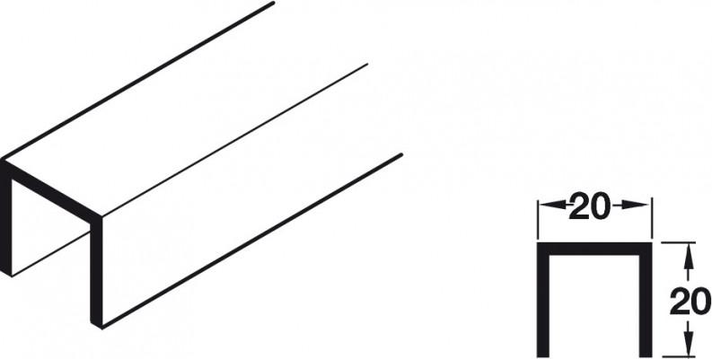 Hawa junior 80 bottom channel, for sliding/folding interior doors, L=3500 telescopico, AA