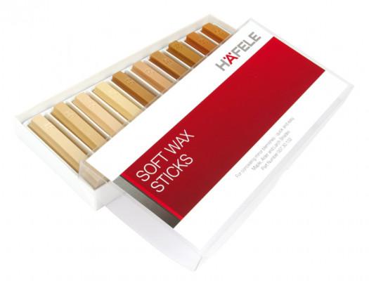 Soft wax sticks, repair work, L=80 mm, 10 in a box, Häfele, oak wood shades