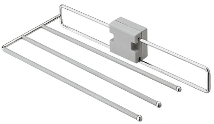 Pull out trouser rack, width 244 mm (222 mm without spacer), steel, chrome