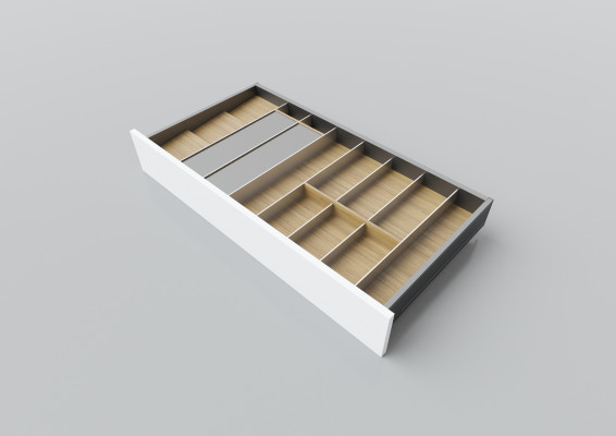 Cutlery divider for LEGRABOX/TA'OR C=900-1000 mm, NL=450 mm, oak