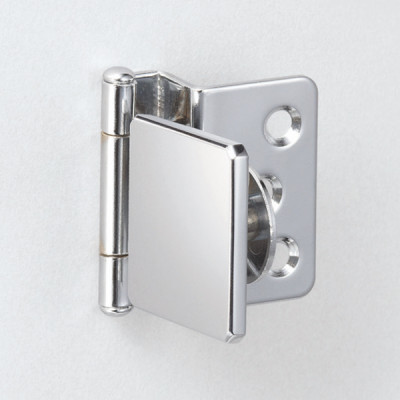 Glass door hinge, half overlay, chrome